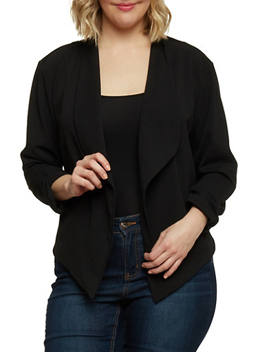 Plus Size Open Front Blazer with Ruched Sleeves,BLACK,large