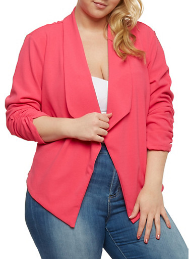 Plus Size Open Front Blazer with Ruched Sleeves,FUCHSIA,large
