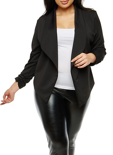 Plus Size Ruched Sleeve Blazer,BLACK,large