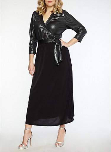 Plus Size Metallic Faux Wrap Maxi Dress,BLACK,large