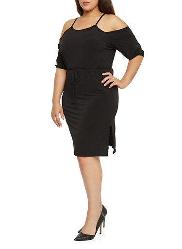 Plus Size Mid Length Cold Shoulder Dress,BLACK,large