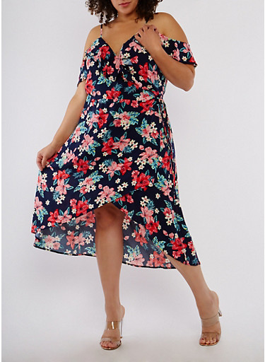 Plus Size Floral High Low Wrapped Dress,NAVY,large