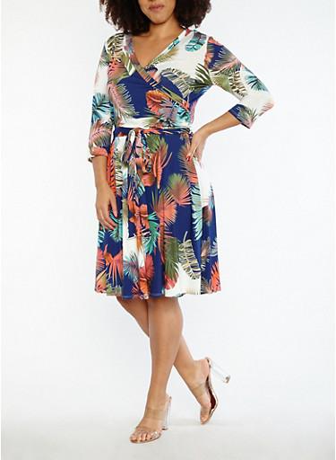 Plus Size Tropical Print Faux Wrap Dress,MULTI COLOR,large