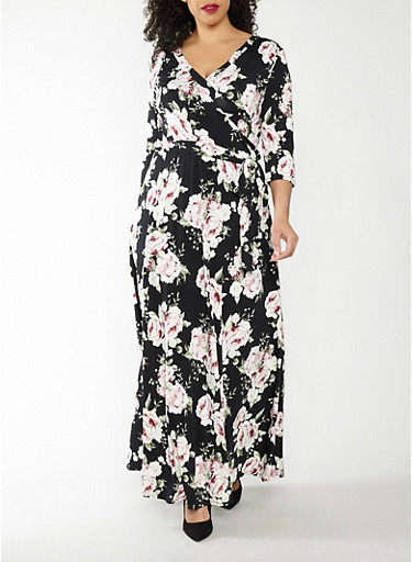 Plus Size Floral Faux Wrap Dress,BLACK/MAUVE,large