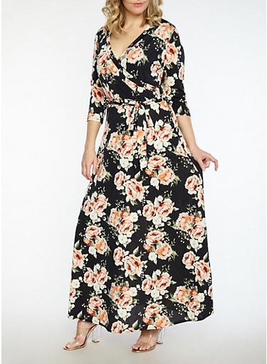 Plus Size Floral Faux Wrap Dress,BLACK/PEACH,large