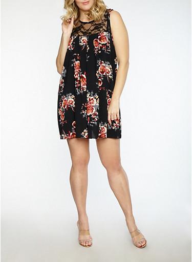Plus Size Floral Crepe Knit Shift Dress,BLACK/WINE,large