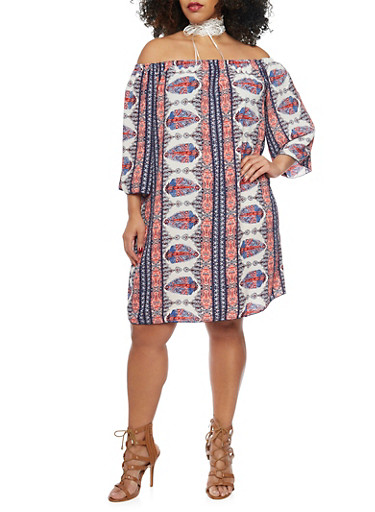 Plus Size Off the Shoulder Aztec Boho Shift Dress,OFF WHITE/BLUE,large