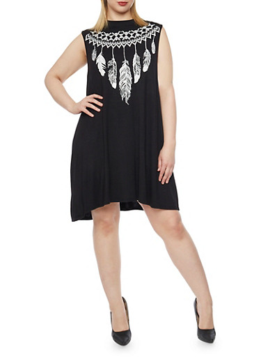 Plus Size Short Trapeze Dress,BLACK,large