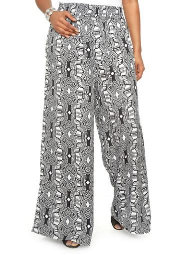 Plus size tribal print palazzo pants