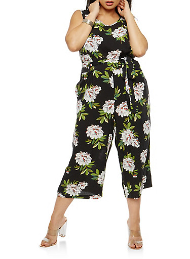 Plus Size Floral Sleeveless Cropped Jumpsuit,BLACK,large