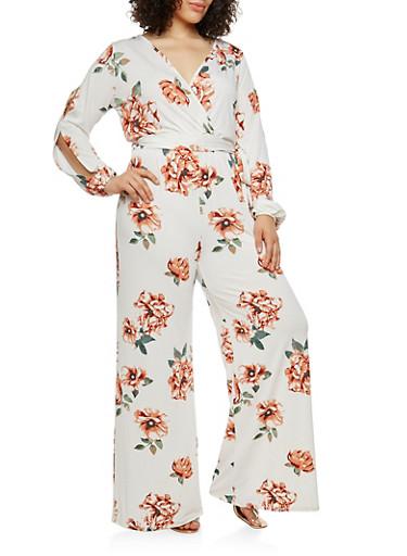 Plus Size Floral Slit Sleeve Faux Wrap Jumpsuit,IVORY/RED,large