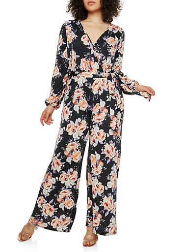 Plus Size Floral Slit Sleeve Faux Wrap Jumpsuit,BLACK,large