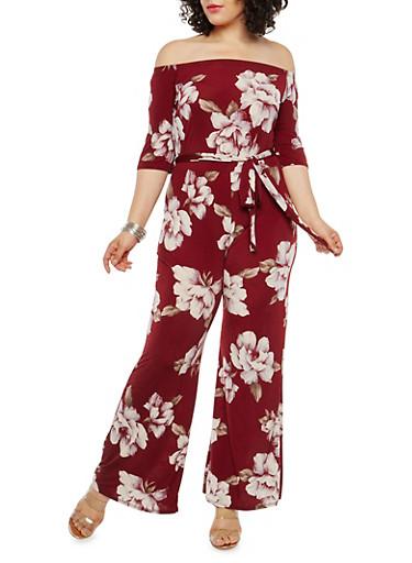 Plus Size Floral Off the Shoulder Jumpsuit,WINE LAVENDAR,large