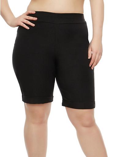 Plus Size Pull On Bermuda Shorts,BLACK,large