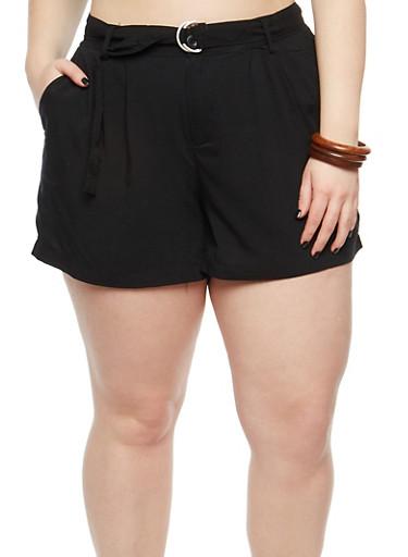 Plus Size Belted Linen Shorts,BLACK,large