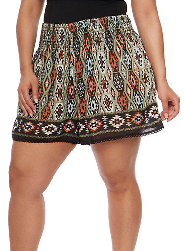 Plus Size Printed Shorts with Crochet Trim,OLIVE,large