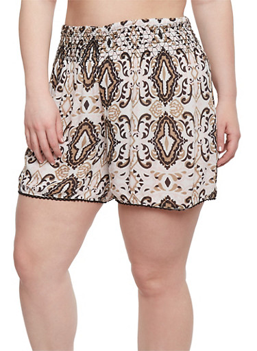 Plus Size Printed Shorts with Crochet Trim,PINK,large