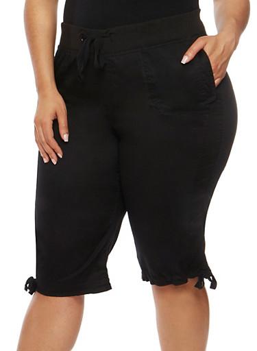 Plus Size Drawstring Waist Capri Pants,BLACK,large