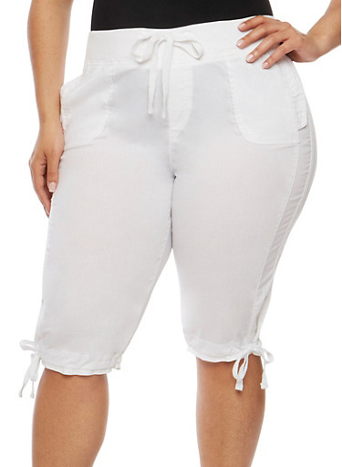 Plus Size Drawstring Waist Capri Pants,WHITE,large