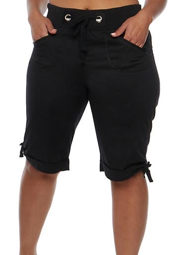 Plus Size Knit Waist Bermuda Shorts,BLACK,large