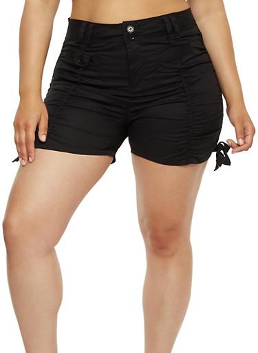 Plus Size Ruched Cargo Shorts,BLACK,large