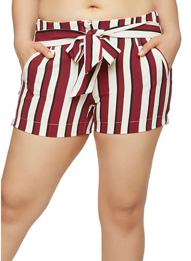 Striped Tie Front Shorts,BURGUNDY,large