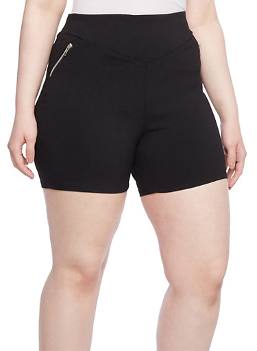 Plus Size Stretch Shorts with Exposed Zipper Accents,BLACK,large