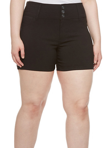 Plus Size Twill Shorts with Wide Waistband,BLACK,large
