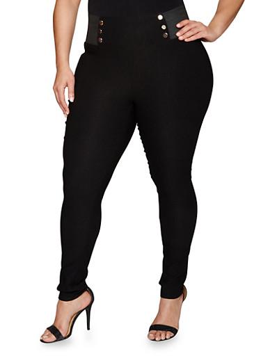 Plus Size Pull On Skinny Sailor Pants,BLACK,large