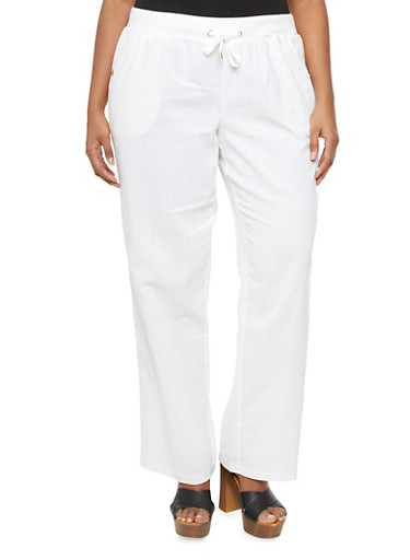 Plus Size Wide Leg Pants With Drawstring And Four Pockets,WHITE,large