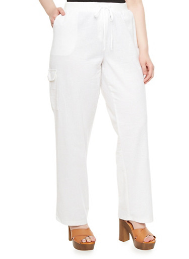 Plus Size Linen Cargo Pants With Drawstring Waist,WHITE,large