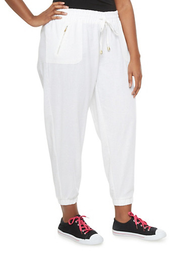 Plus Size Linen Joggers With Exposed Zipper Pockets,WHITE,large