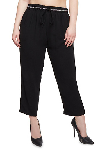 Plus Size Crepe Pants with Drawstring Waist,BLACK,large