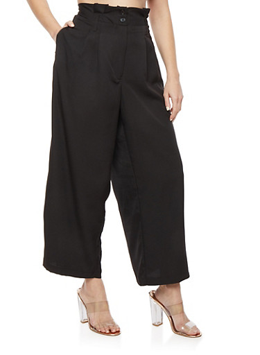 Plus Size Solid Crepe Knit Palazzo Pants,BLACK,large