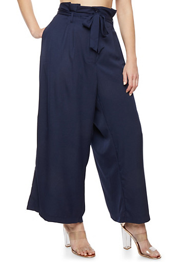 Plus Size Solid Crepe Knit Palazzo Pants,NAVY,large