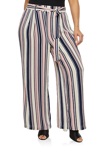 Plus Size Striped Crepe Knit Palazzo Pants,NAVY,large
