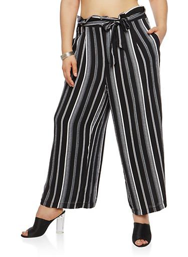 Plus Size Stripe Crepe Knit Palazzo Pants,BLACK,large