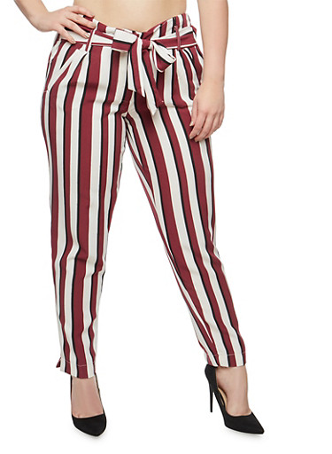 Plus Size Striped Tie Front Pants,BURGUNDY,large