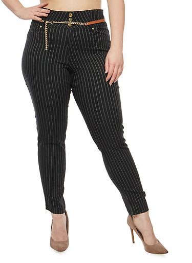Plus Size High Waisted Belted Pinstripe Pants,BLACK,large