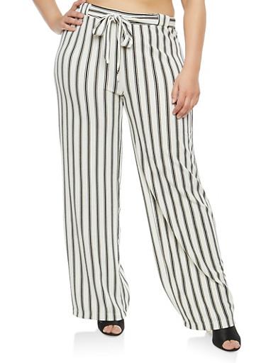 Plus Size Striped Tie Front Palazzo Pants,WHITE-BLK,large