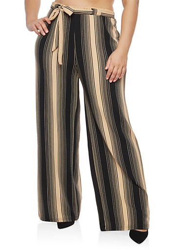 Plus Size Khaki Stripe Knit Palazzo Pants,BLACK-KHAKI,large