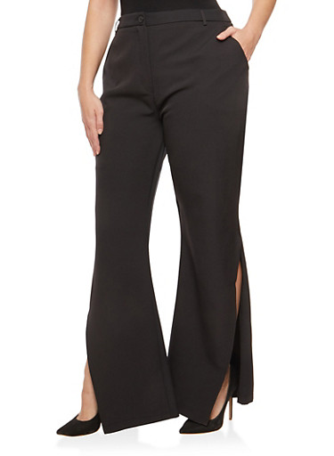 Plus Size Slit Bell Bottom Dress Pants,BLACK,large