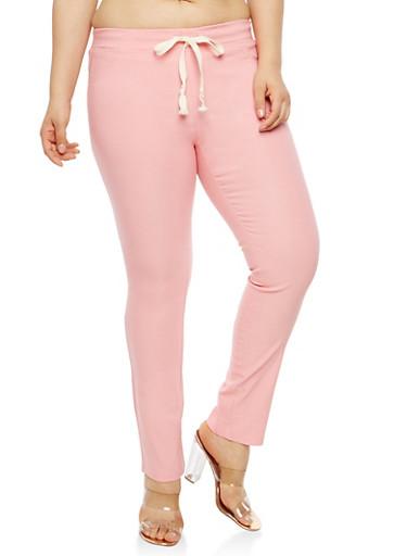 Plus Size Pink Stretch Pants,MAUVE,large