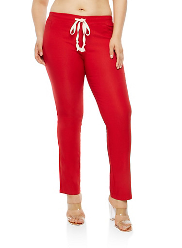 Plus Size Red Stretch Pants,RED,large