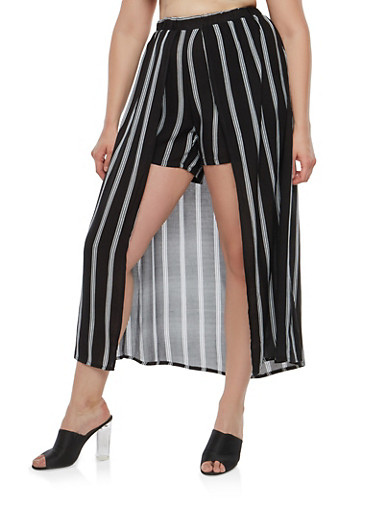 Plus Size Striped Shorts with Maxi Skirt Overlay,BLACK,large
