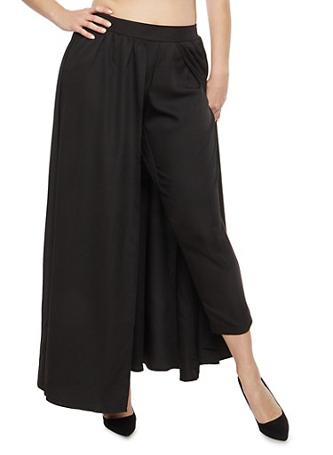 Plus Size Skinny Pants with Maxi Skirt Overlay,BLACK,large