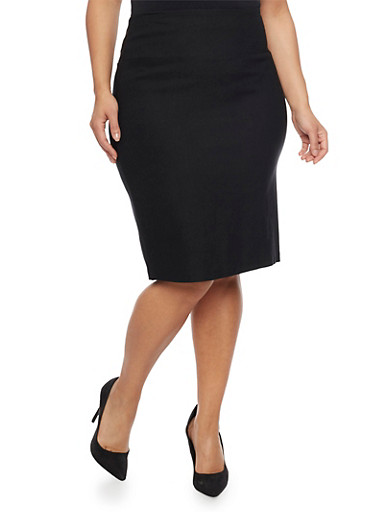 Plus Size Pencil Skirt in Stretch Knit Denim,BLACK,large