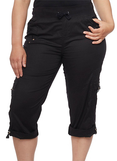 Plus Size Knit Waist Cargo Capri Pants,BLACK,large