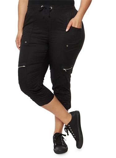 Plus Size Cargo Capri Pants with Drawstring Waist,BLACK,large