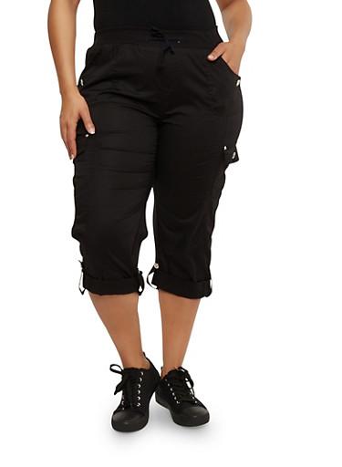 Plus Size Cuffed Cargo Capri Pants,BLACK,large